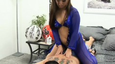 Sensual Asian masseuse delivers a great blowjob and gets nailed hard
