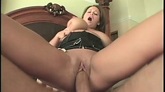 Curvaceous Brandy Talore fucks Chris Charming's hard cock on the bed